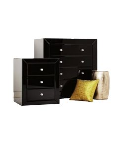 Ebony Black Glass Bedside Table 3 Drawers