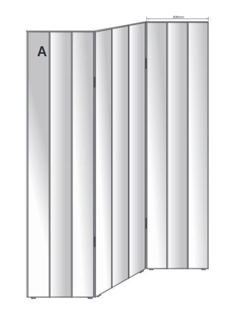 Free Standing Mirrored Screen 3 Panels