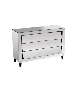 Patricia Range Mirrored Chest Of 3 Drawers, Bevelled and Angled