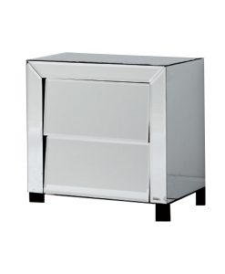Patricia Range Mirrored Bedside Table with 2 Drawers