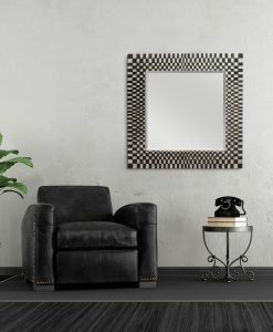 Michelle Handcrafted Square Wall Mirror in Black 100cm