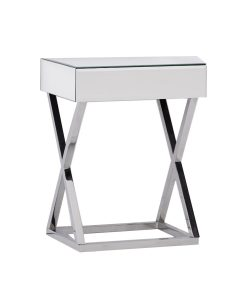High Gloss Side Table Bevelled Stainless steel Legs