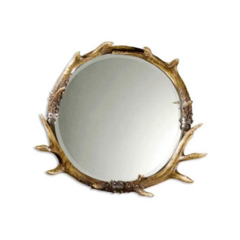 Stag-Horn-Decorative-Round-Wall-Mirror-by-Uttermost-61cm-x-66cm