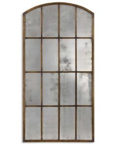 Large Arch Mirror with Antiqued Metal Frame