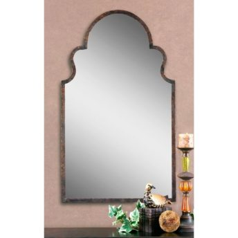 Brayden Arch Wall Mirror with Metal Frame in Dark Brown Finish by Uttermost