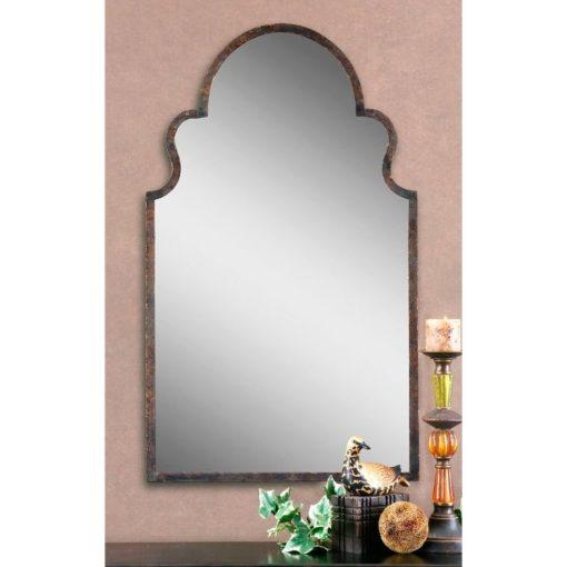 Brayden Arch Wall Mirror with Metal Frame in Dark Brown Finish by Uttermost