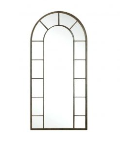 Dillingham Antique Arch Mirror with Black Metal Frame by Uttermost