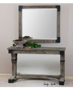 Nelo Wall Mirror with Rustic Wooden Frame by Uttermost
