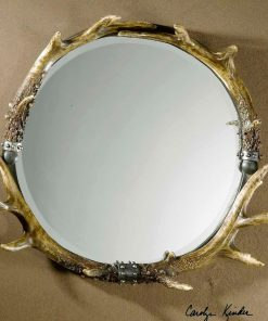 Stag Horn Decorative Round Wall Mirror by Uttermost