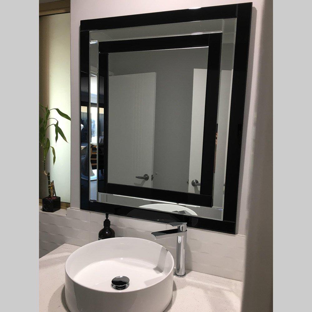 Iris Art Deco Bathroom Black Wall Mirror   Luxe Mirrors