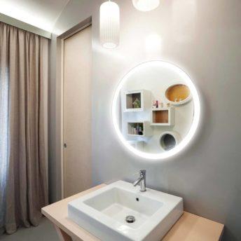 Backlit Round Bathroom Mirror - (85cm Warm Light) or (90cm Cool Light)