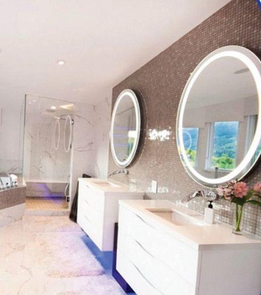 Backlit Round Bathroom Mirror With Led Backlit Boarder