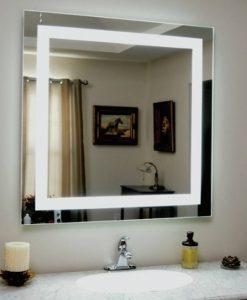 Square Backlit Bathroom Mirror
