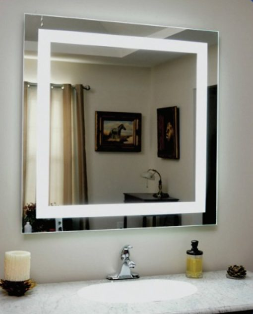 Backlit Square Bathroom Mirror With Led Border Luxe Mirrors