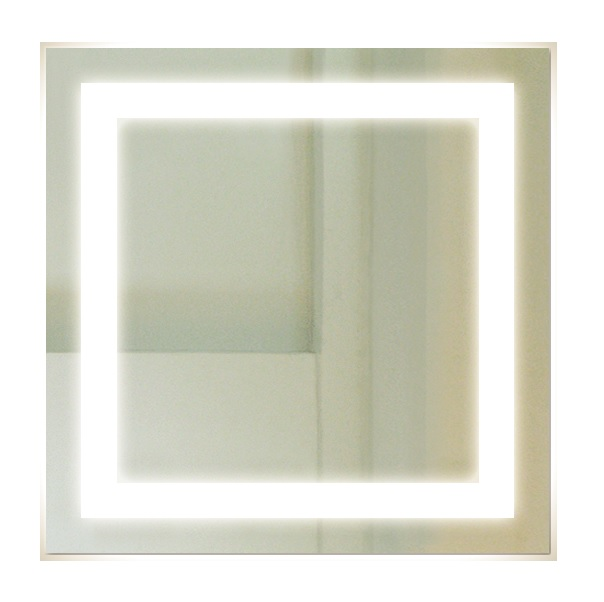 Backlit Square Bathroom Mirror with LED Light Border 76cm ...