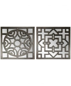 Fortescue Set of 2 Metal and Mirror Wall Art GREY