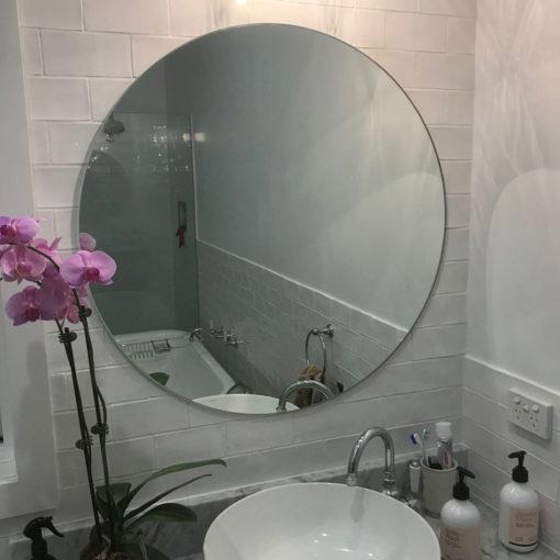 Polished Edge Round Bathroom Mirror