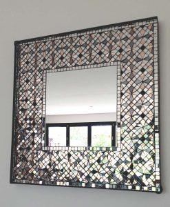"""Pale Rose"" Handmade Mosaic Square Mirror by Mirror Envy"