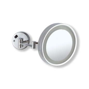 Wall-Mounted-Round-Shaving-Make-Up-Mirror-LED-Light-3x-Magnification-25.5cm