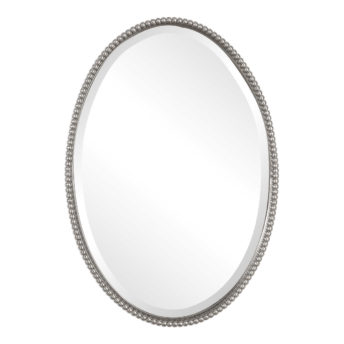 Beaded Silver Oval Mirror