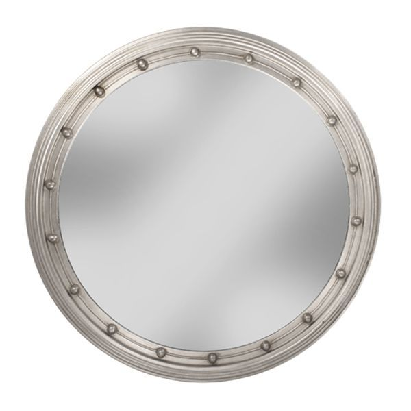 round silver wall mirror free shipping luxe mirrors. Black Bedroom Furniture Sets. Home Design Ideas