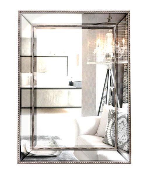 Silver Beaded Wall Mirror