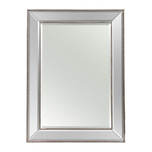Silver Beaded Wall Mirror 110cm x 80cm