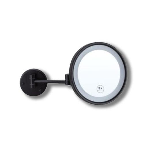 Black-Round-Shaving-Make-Up-Mirror-LED-Light-3x-Magnification-25cm