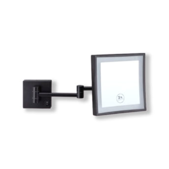Black-Square-Shaving-Make-Up-Mirror-LED-Light-3x-Magnification-20cm