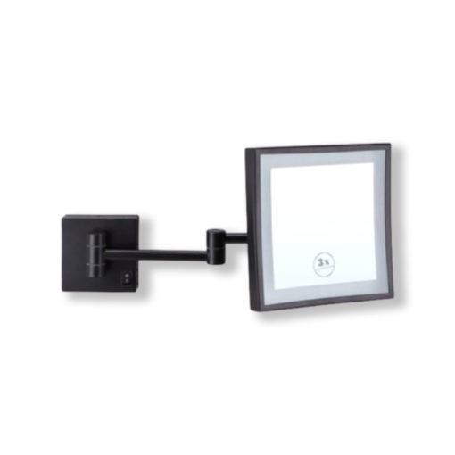 Black-Square-Shaving-Make-Up-Mirror-LED-Light-3x-Magnification-20cm