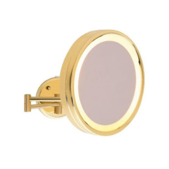 Gold-Round-Shaving-Make-Up-Mirror-LED-Light-3x-Magnification-25cm