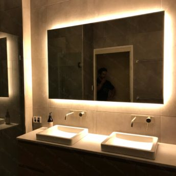 Rear Soft Glow LED Backlit Bathroom Mirror