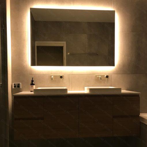 Rear Soft Glow LED Backlit Bathroom Mirror