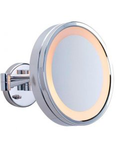 Round ShavingMake Up Mirror Warm LED Light 3x Magnification 25cm