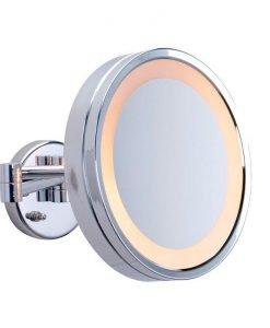 Round ShavingMake Up Mirror Warm LED Light 3x Magnification 25cm