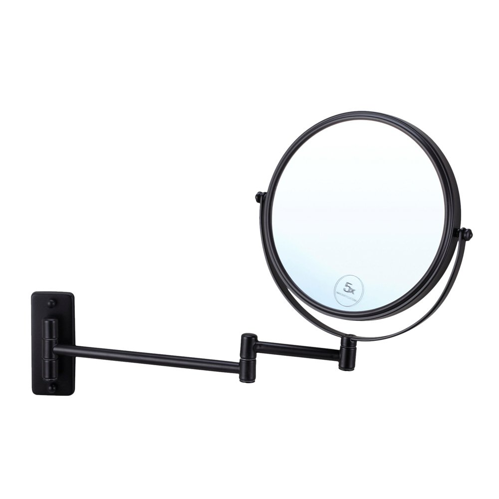 Wall Mounted Round Shaving Black Make Up Mirror 5x Magnification