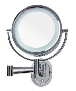 Wall Mounted Round ShavingMake Up Mirror with Light 5x Magnification 20cm