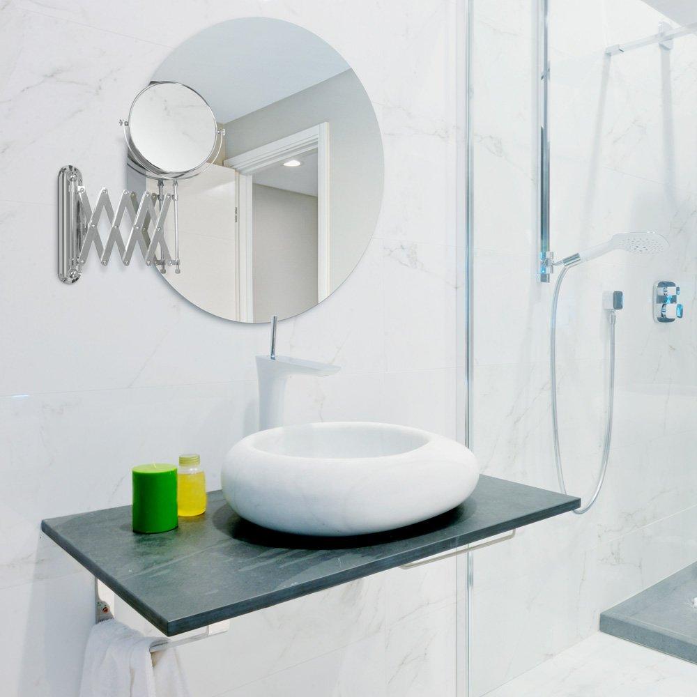 Wall Mounted Shaving Make Up Mirror 4x Magnification