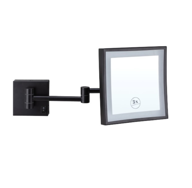 Square Wall Mounted Shaving Make Up Mirror Led Light 3x