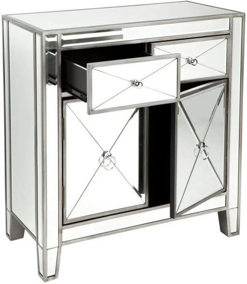 Apolo Antique Silver Mirrored Cabinet 71cm x 33cm x 72cm