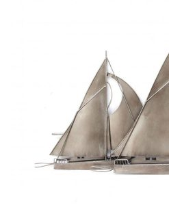 Silver Sailing Boat Metal Wall Art 81cm x 48cm