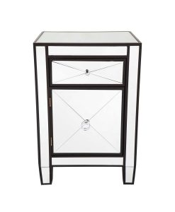 Apolo Black Mirrored Bedside Table