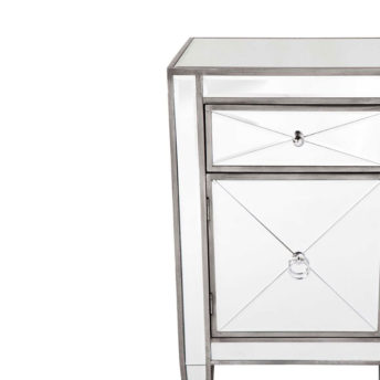 Apolo Antique Silver Mirrored Bedside Table