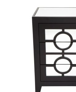 Stockton Black Mirrored Bedside Table