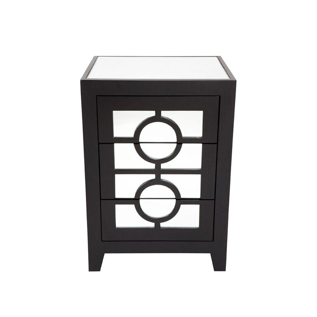 Stockton black mirrored bedside table 46cm x 40cm ebay stockton black mirrored bedside table 46cm x 40cm watchthetrailerfo