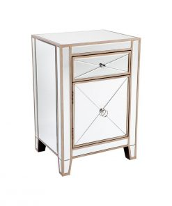 Apolo Antique Gold Mirrored Bedside Table