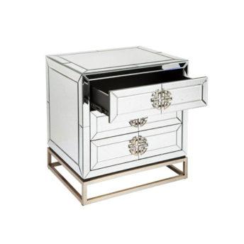 Jester Antique Mirror Bedside Table 60cm L x 50cm W x 65cm H
