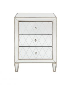 Krystal Bedside Table -Antique Silver 45cm L x 40cm W x 67cm H