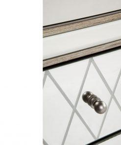 Krystal Bedside Table -Antique Silver 45cm L x 40cm W x 67cm H