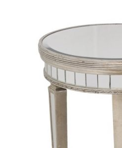 Round Mirrored Side Table